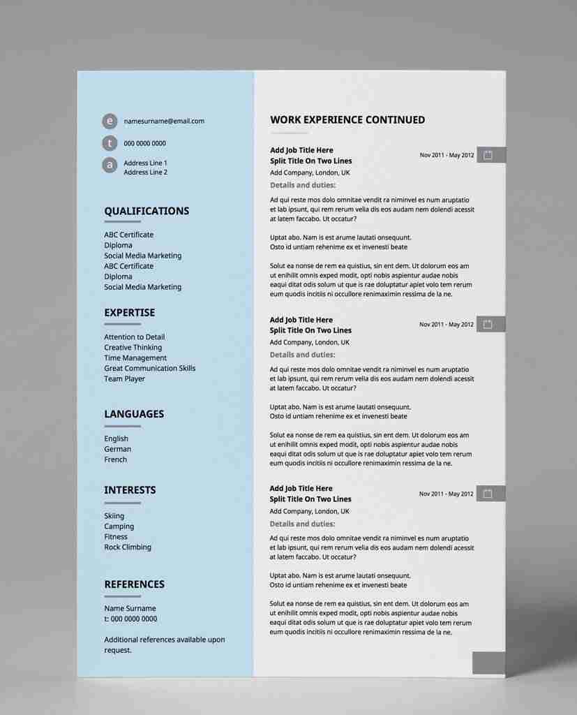 creative resume templates - pastel blue