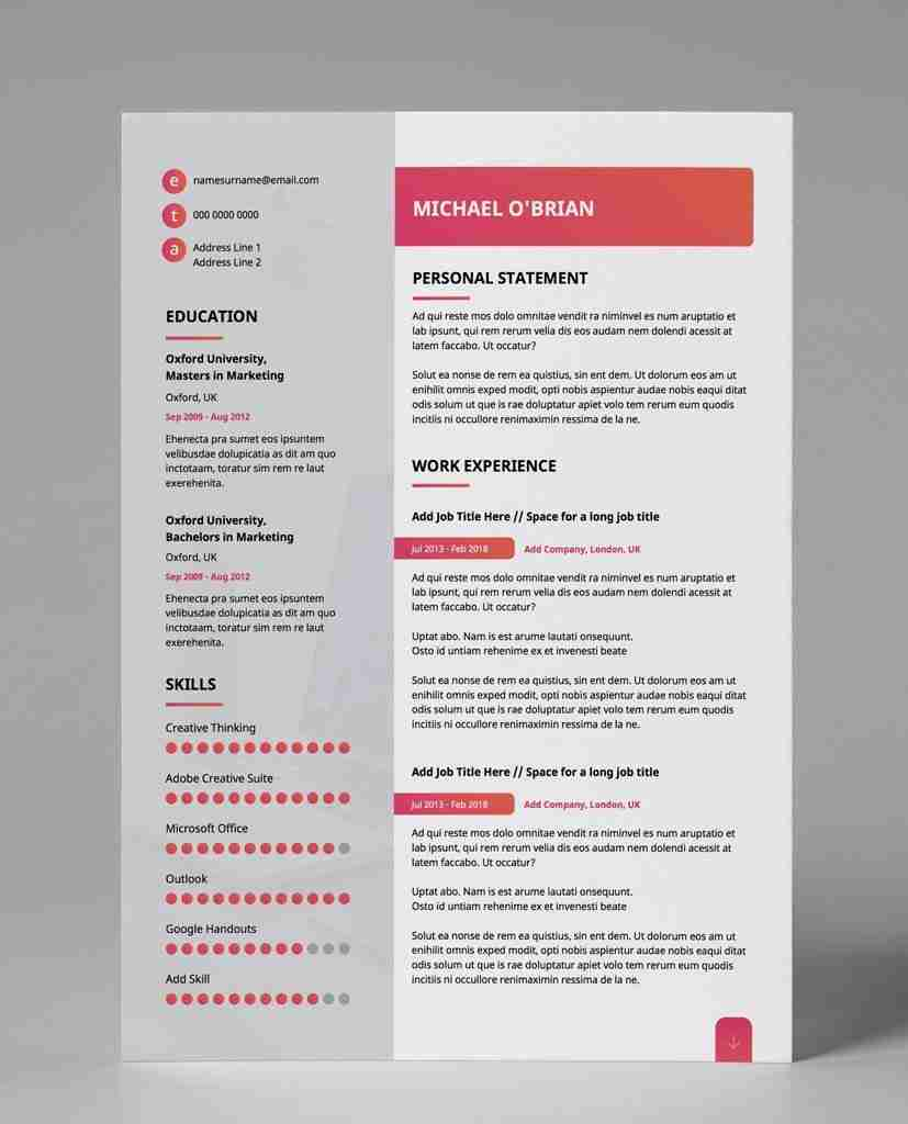 best resume format pdf - gradient style