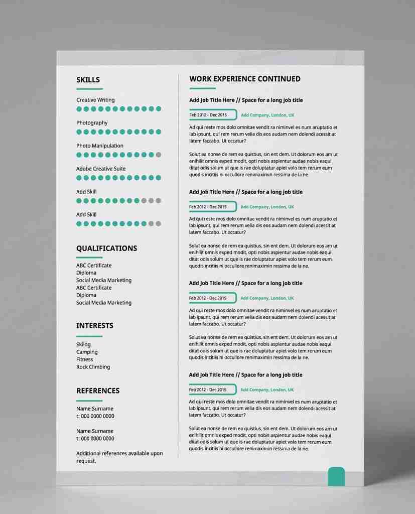 editable resume template pdf - subtle cyan