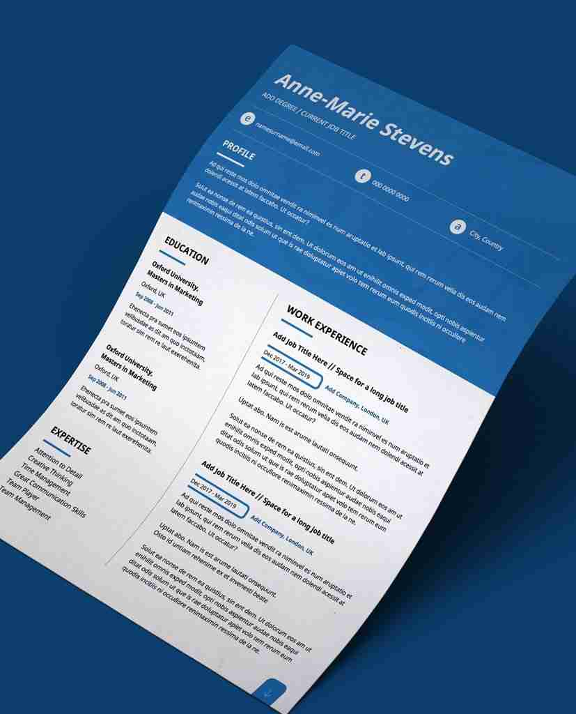 editable cv template in pdf- blue header