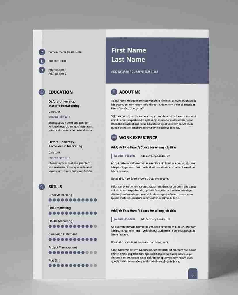 editable resume template - slate blue