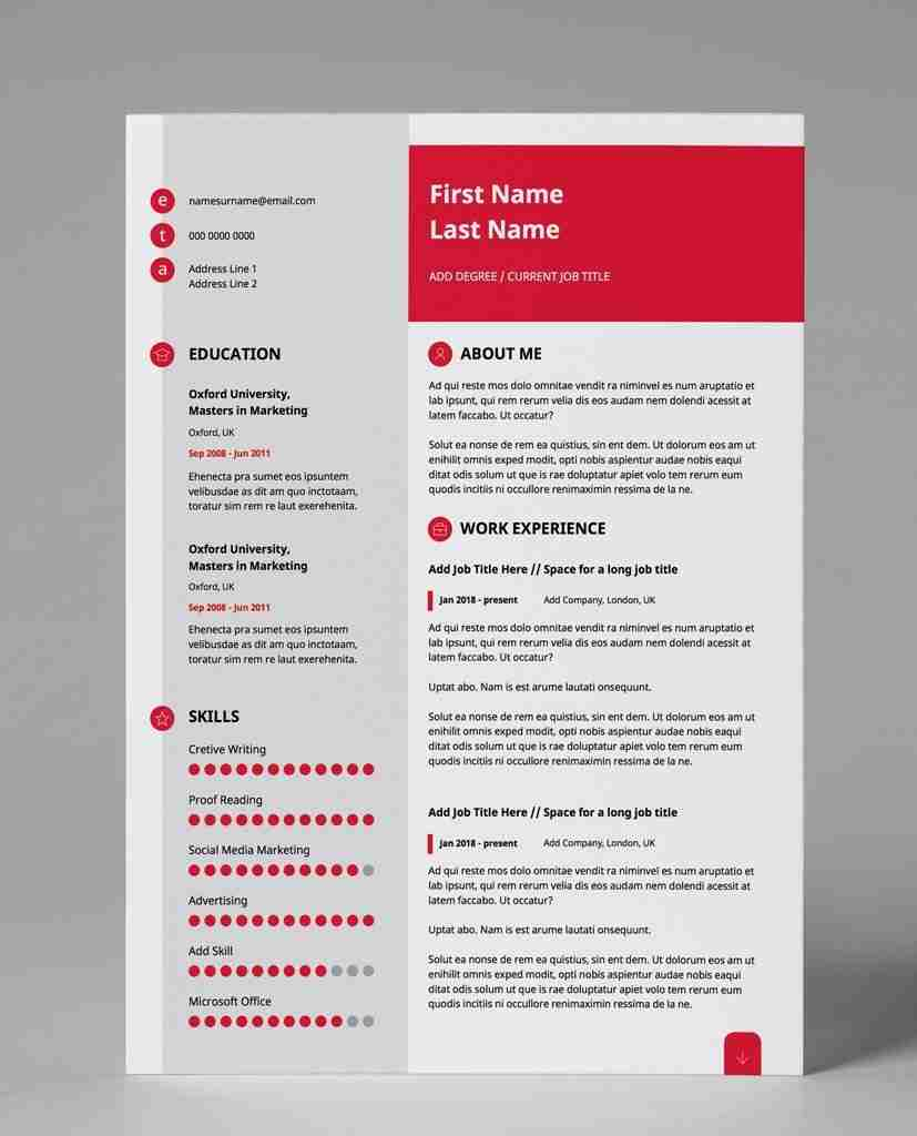 double page resume template in pdf