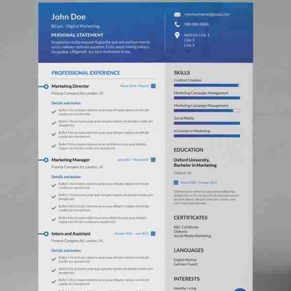 Gallant Blue Modern Single Page Cv Resume