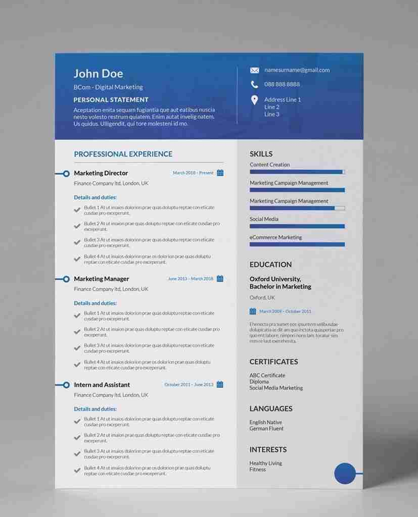 Cv Designs Gallant Blue Modern Editable 1 Page Resume