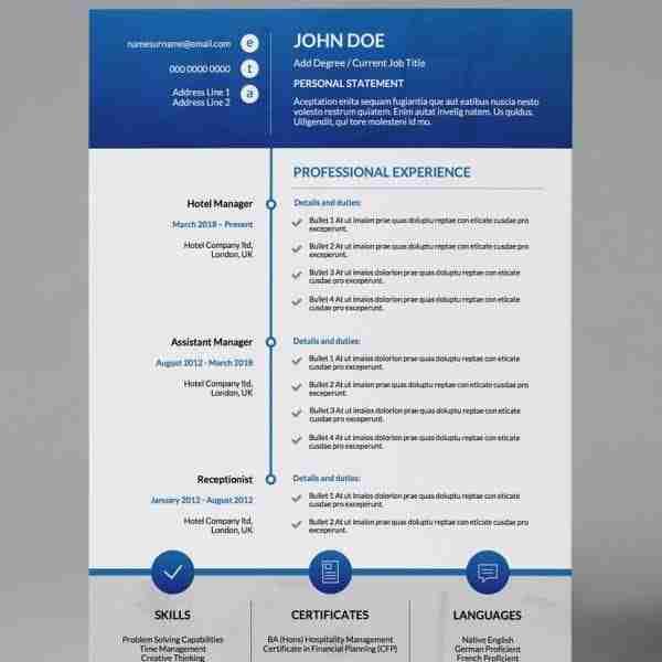 Timeline Modern Single Page Cv Resume