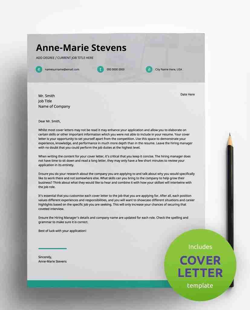 editable resume template pdf - subtle cyan