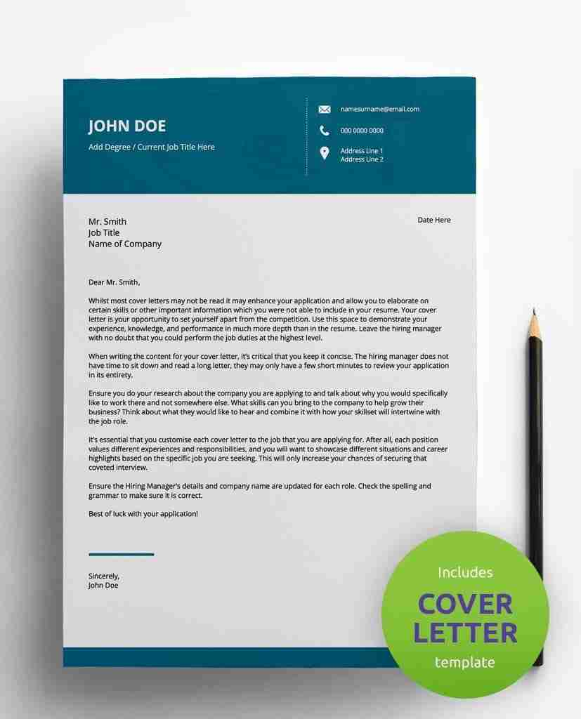 resume format download - corporate teal - editable 2 page cv