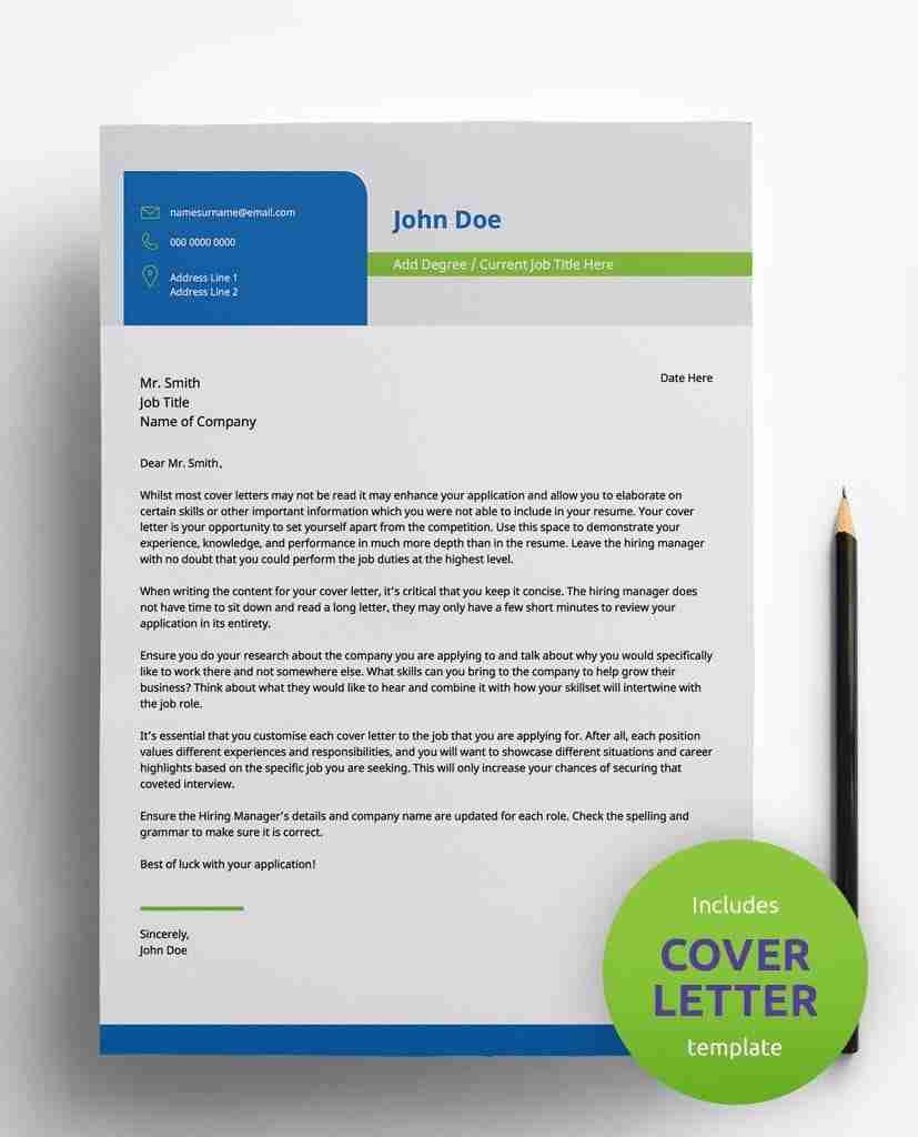 creative resume design- 2 page pdf template