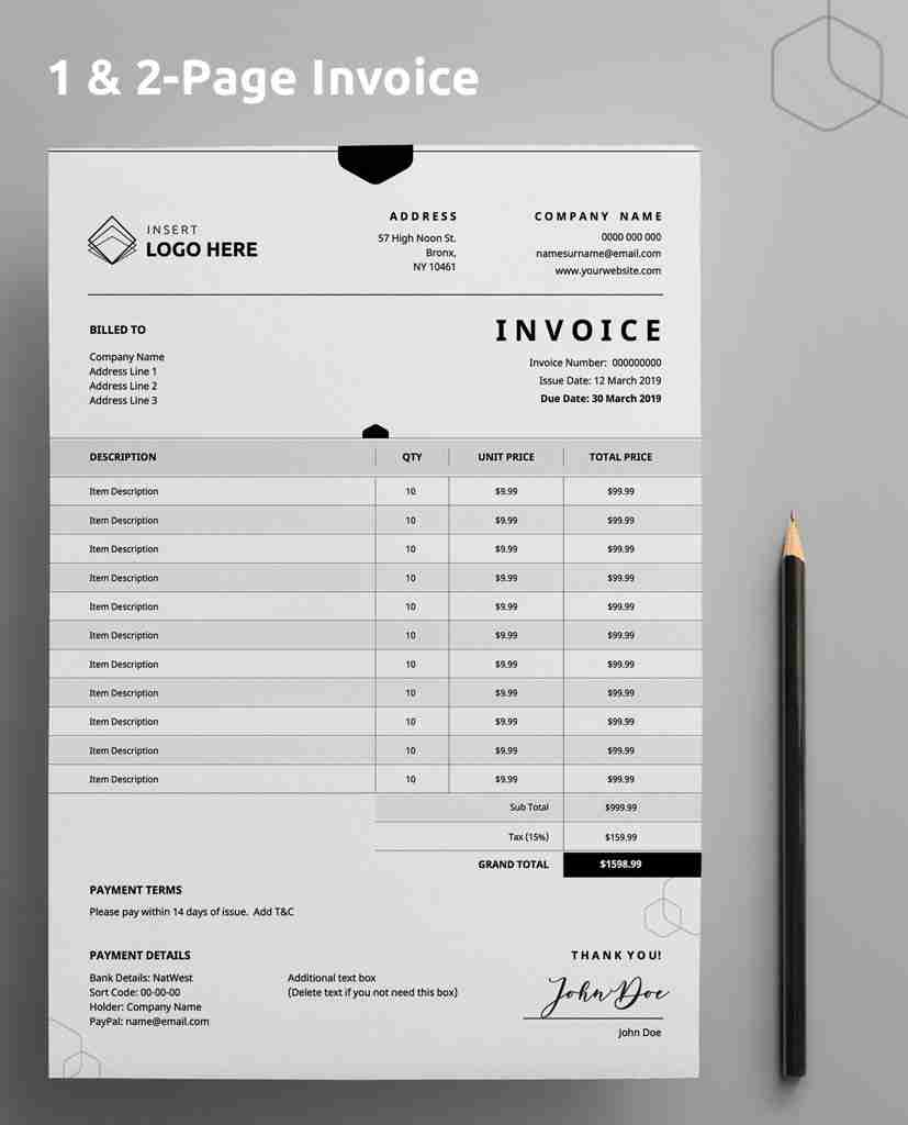 invoice template - incl  both 1  u0026 2 page